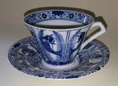 Chinese export blue & white vintage Victorian antique cup & saucer duo A