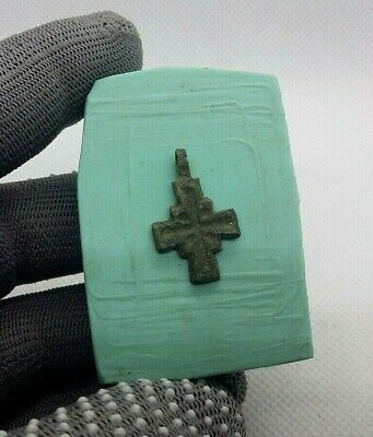 SUPERB Ancient Bronze VIKING CROSS AMULET Pendant c.8-11 AD  #273