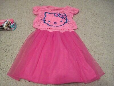 e5106f6f2 Hello Kitty Dress Pink Girls Sz 6/6x Sparkle Tulle Skirt Lace Like Short  Sleeve