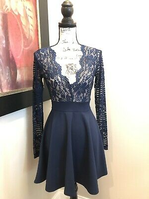 b4b586140dce Windsor Skater Dress Small Lace Navy Blue Two Toned Long Sleeve V Neck NWT