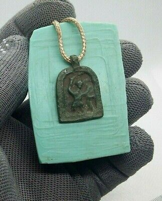 Rare Unique Medieval Protection Necklace  ST. NIKITA DEFEATING DEVIL 15th С #275