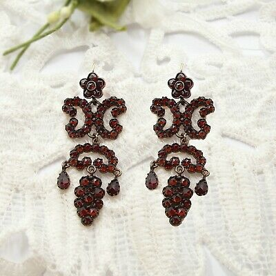 Vintage garnet cascade earrings w/14ct gold wires in Victorian style // ГРАНАТ