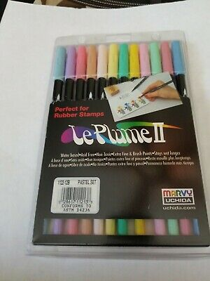Marvy Le Plume II Markers PASTEL Double Ended Set of 12 pc NEW 1122-12B NEW!