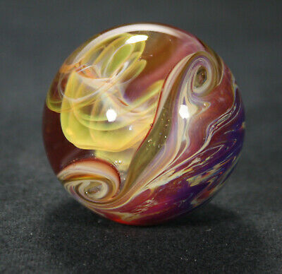 Juba Glass Handmade Lampwork CFL Reactive Marble 24K Gold And Silver Fume 1.42
