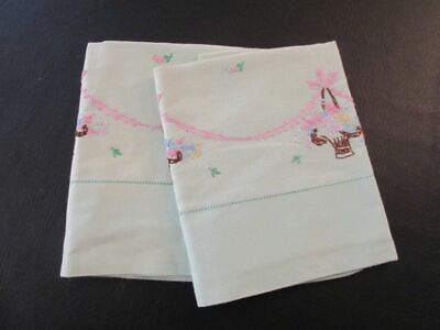 Pair of Dainty Vintage Linen Pillowcases Light Gr/Pink Embroidered Baskets