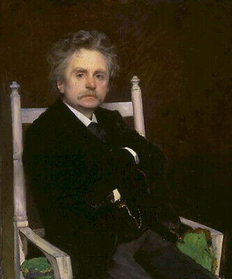Edvard Grieg Norwegian Composer Pianist Hand Painted Oil Painting Male Portrait