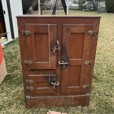 Antique Oak Wooden Polar King Ice Box 32x18x43 DIY Restore Project Collectible