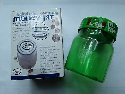 Digital Coin Counting Money Jar, M&M Green