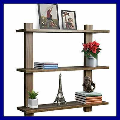 Floating Shelf — Asymmetric Square Wall Decorative Hanging Wood 3 Tier Walnut