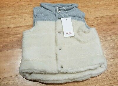 BNWT Seed Heritage Baby Sherpa Vest - Size Large RRP $44.95