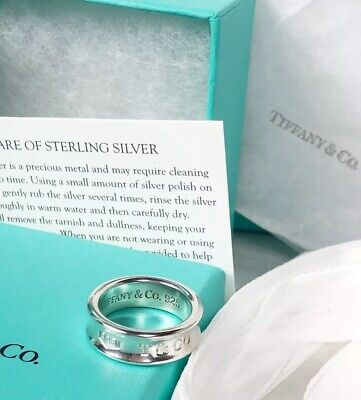 67c402239 New Tiffany & Co. 1837 Sterling Silver Concave Narrow Band Ring Sz 6.5