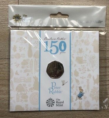 2016 Royal Mint Brilliant Uncirculated Peter Rabbit 50p Fifty Pence coin pack.