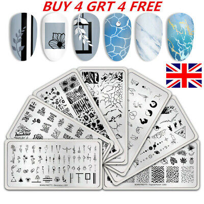 BORN PRETTY Nail Stamping Plates Geometry Rose Flower Nail Art Lace Template DIY