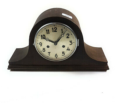 Antique 20Th Century Wooden Oak Cased Mantel Clock With Silvered Dial 111986