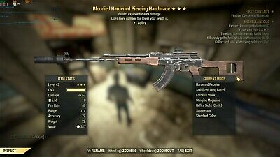 FALLOUT 76 (PC) 3🌟 Bloodied Explosive B/E Handmade Rifle