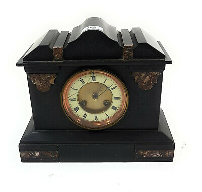 Rare Antique Victorian Slate Brass Mantel Clock With Brass Enameled Dial 8.8Kilo