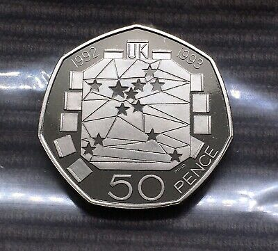 1992 1993 EEC PROOF 50p coin Royal Mint 50 pence dual date scarce