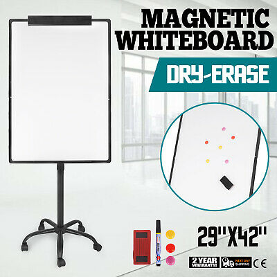 "29""x42"" Magnetic Writing Whiteboard Single Side Dry Erase w/ Adjust Mobile Stand"
