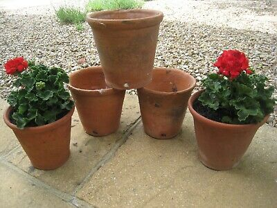 Victorian Hand Thrown Terracotta Flower Pots 22 x 21cm Drainage holes in side!