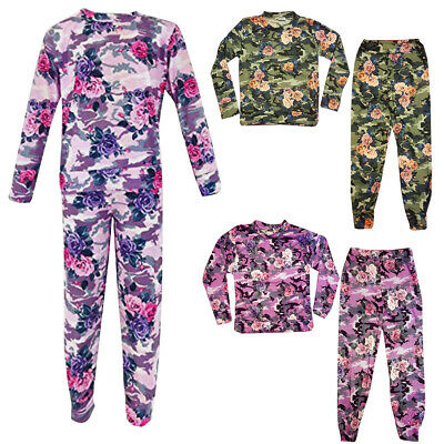 Kids Girls Floral Camouflage Tracksuit Loungewear 2 Pc Set CHILDREN