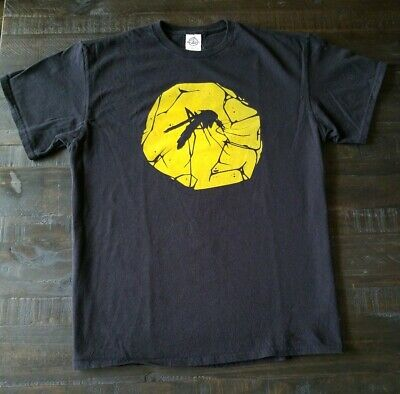 Jurassic Park Black Mens Tshirt Large Amber Cracked Mosquito