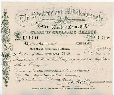 *RARE* Stockton and Middlesbrough Water Works £12.10. Share Certificate 1857