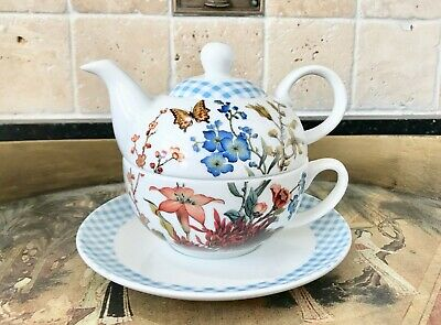 Fringe Studio Barnes & Noble Fine Porcelain Butterfly Tea for One W/Original Box