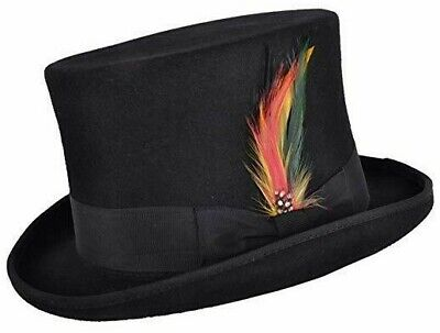 WHITE 100/% WOOL SATIN LINED WEDDING EVENT FELT TOP HAT WITH FEATHER