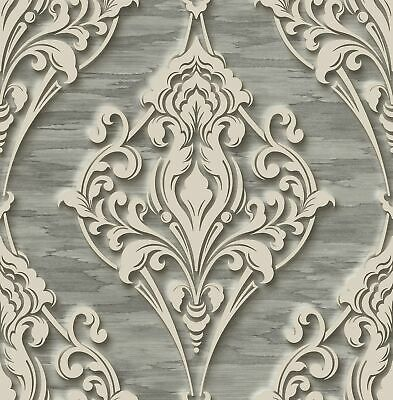 Ornate Ogee Wallpaper with Glitter in Charcoal DS60306 by Wallquest