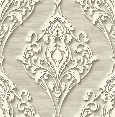 Ornate Ogee Wallpaper with Glitter in Fawn DS60307 by Wallquest