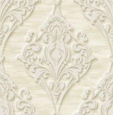 Ornate Ogee Wallpaper in Light Gold DS60305 by Wallquest