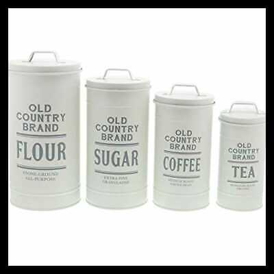 Decorative Nesting Kitchen Canisters W Lids Galvanized WHITE Metal Rustic