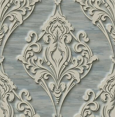 Ornate Ogee Wallpaper with Glitter in Royal Blue DS60302 by Wallquest