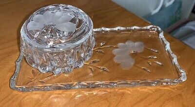 Princess House Hertiage Crystal Vanity Set Jewelry Bowl & Tray w/ Etched Flower