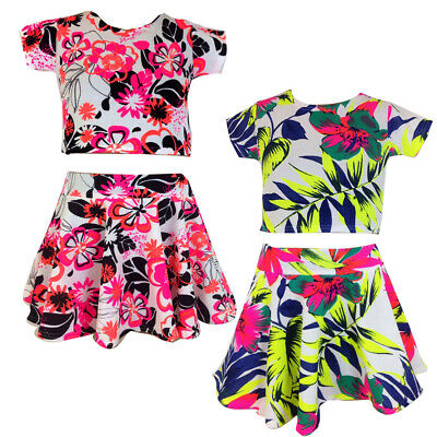 Kids Girls Floral Skater Skirt  Crop Top Set Age 7-13 Years