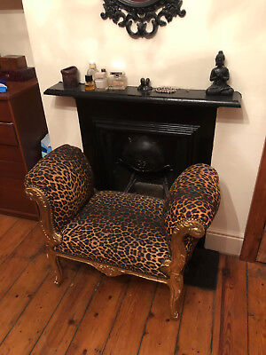 Antique vintage french Louis chair gold handcarved wood and leopard seat
