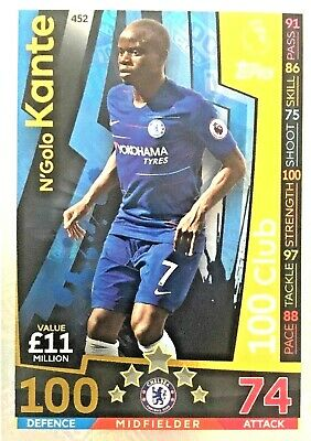 Match Attax 18/19 Ngolo Kante Chelsea 100 Club  Mint