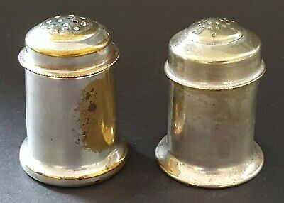 Silver plate electroplate vintage Art Deco antique salt & pepper shakers pots
