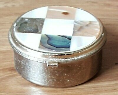 Brass & mother of pearl vintage Art Deco antique round pill trinket box