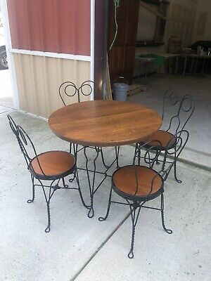Vintage Ice Cream Parlor Soda Fountain Oak Table and Wrought Iron Chairs