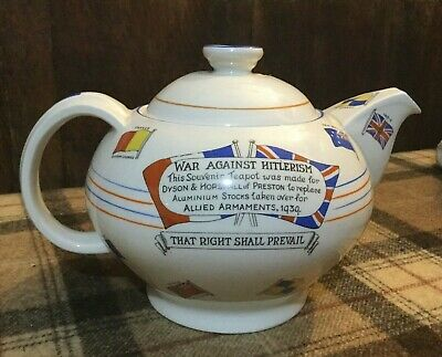 "A Old Antique WWII Crown Ducal Ceramic Teapot / Tea Pot ""War Against Hitlerism"""