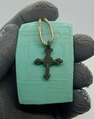 "Rare MEDIEVAL VIKING-STYLE BRONZE "" BUDDED "" CROSS PENDANT 10-13th CENTURY #278"