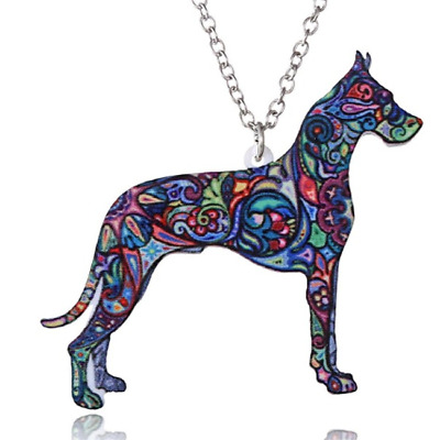 Acrylic Great Dane Dog Abstract Colourful Necklace Pendant Jewellery Gift Bag