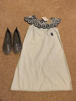NWT Girls Primark Denim Co Off Shoulder Dress Age 12-13yrs & Sparkly Shoes 5