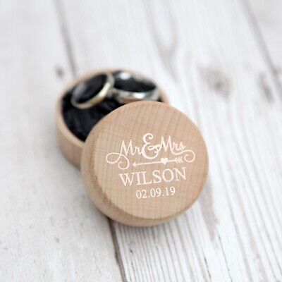 Personalised Foiled Wooden Wedding Ring Box, Custom Ring Bearer, Proposal Gift