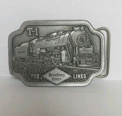 Vintage Country Trains Reading Railroad T-1 Train Locomotive Belt Buckle Pewter
