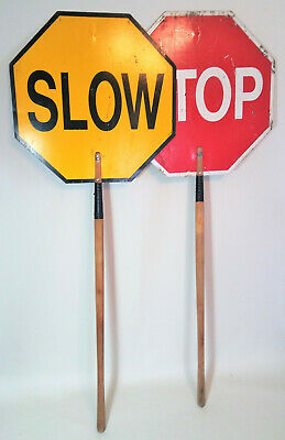 "2 Vtg 5½ ft Wood Handle Stop Slow 2 Sided School Traffic Flagger Signs 67""x 24"""