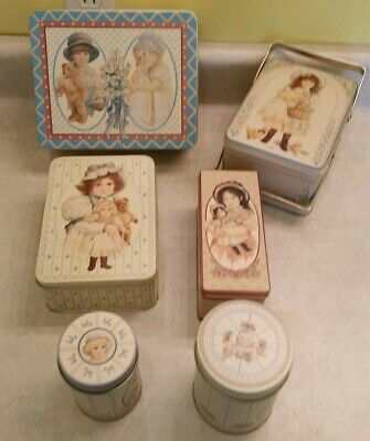1987 The B&J company Lot Of 6 Collectible Doll Tins Variety sizes