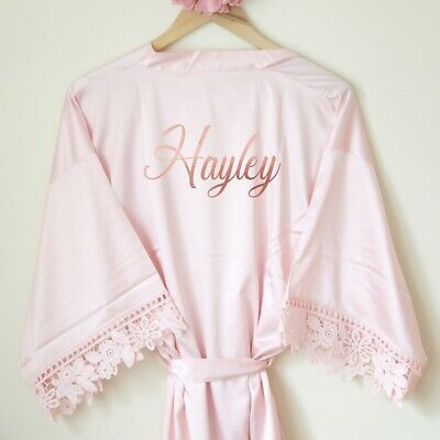 Personalised Bridal Satin Robe. Wedding Gown Hen Party Floral Gift Rose Gold