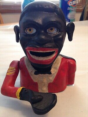 Antique African American Americana Folk Cast Iron Bank 1900 Made in England